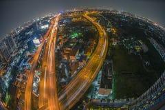 Aerial view of the express way over Bangkok city Royalty Free Stock Photo