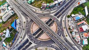 Aerial view Expressway motorway highway circus intersection.  royalty free stock image