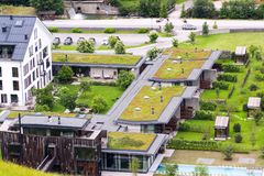 Aerial view of extensive green living sod roofs with vegetation stock image