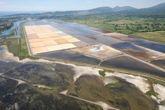 Aerial view of the extraction of salt in Montenegro Stock Images