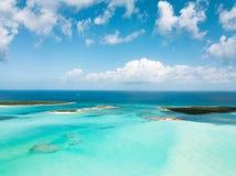 Aerial view of Exuma at the Bahamas. summer vacation royalty free stock photo