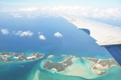 Aerial view of Exuma Cays Stock Photo