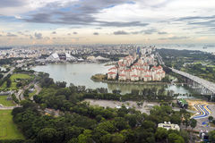 Aerial view of facilities around Kallang basin and residential properties at Tanjong Rhu area. Royalty Free Stock Images