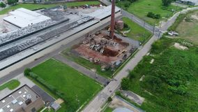 Aerial View of Factory Building Being Demolished.  stock video footage