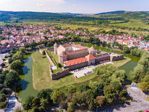Aerial view of Fagaras Fortress in the city of Fagaras, Transylv Royalty Free Stock Image