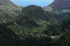 Aerial view at Faial county on Portuguese island of Madeira. View from Balcoes viewpoint i Ribeiro Frio royalty free stock image