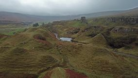 Aerial view of the Fairy Glen by Uig - Isle of Skye, Scotland. UK stock footage