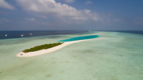 Aerial view of Fairy tale smal island in Indian ocean, Maldives Stock Images