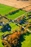 Aerial view of fall foliage in Stowe, Vermont Royalty Free Stock Images