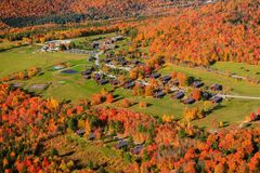 Aerial view of fall foliage in Stowe, Vermont Stock Images