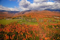 Aerial view of fall foliage in Stowe, Vermont Royalty Free Stock Photography