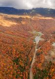 Aerial view of fall foliage in Stowe, Vermont Stock Image