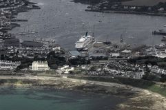 Aerial view of Falmouth. Harbour in south west England Royalty Free Stock Images