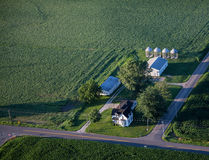 Aerial view of Family Farm with barns. Indiana Family farm with early morning light. An Indiana Aerial photo Stock Image