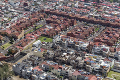 Aerial view of family homes. Middle class urban living zone within the mexico city metropolitan area stock photos