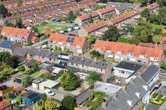 Aerial view family houses with backyards in Emmeloord, The Netherlands. Aerial view family houses with backyards in residential area of Dutch village Emmeloord royalty free stock photography