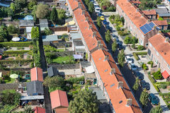 Aerial view family houses with backyards in Emmeloord, The Netherlands. Aerial view family houses with backyards in residential area of Dutch village Emmeloord stock photos