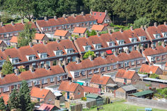Aerial view family houses with backyards in Emmeloord, The Netherlands. Aerial view family houses with backyards in residential area of Dutch village Emmeloord stock image
