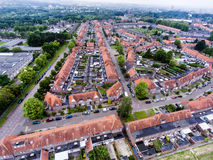 Aerial view of family houses of Dutch town Royalty Free Stock Images