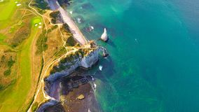 Aerial photography of the white chalk cliffs in Etretat Stock Images