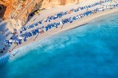 Aerial view of the famous beach of Porto Katsiki on the island o Royalty Free Stock Photos