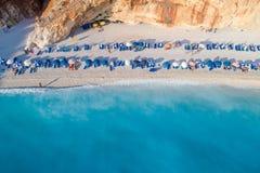Aerial view of the famous beach of Porto Katsiki on the island o Stock Image