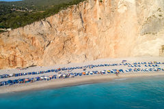 Aerial view of the famous beach of Porto Katsiki on the island o Royalty Free Stock Image