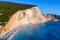Aerial view of the famous beach of Porto Katsiki on the island o Stock Photos