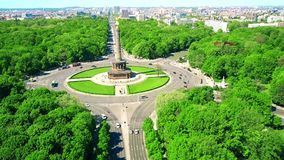 Aerial view of famous Berlin Victory Column and distant cityscape, Germany stock photos