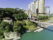 Aerial view of the famous Bitan Scenic area in Xindian District. Taipei, DEC 18: Aerial view of the famous Bitan Scenic area in Xindian District on DEC 18, 2018 stock images