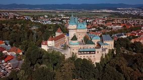 Aerial view of the famous Bojnice Castle, Slovakia. Flying around of the famous Bojnice Castle, Slovakia stock video