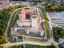 Aerial view of the Castle of La Mota in Medina del Campo. Aerial view of the famous castle Castillo de la Mota and Medina del Campo at dusk, Valladolid stock images