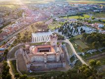 Aerial view of the Castle of La Mota in Medina del Campo. Aerial view of the famous castle Castillo de la Mota and Medina del Campo at dusk, Valladolid stock photography