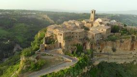 Aerial view of famous Civita di Bagnoregio town on summer evening