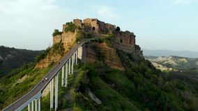 Aerial view of famous Civita di Bagnoregio town on summer evening