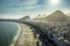 Aerial view of famous Copacabana Beach in Rio de Janeiro Royalty Free Stock Photography