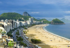 Aerial view of famous Copacabana Beach and Ipanema beach in Rio de Janeiro, Brazil Royalty Free Stock Image