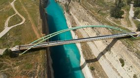 Aerial view of famous Corinth Canal of Isthmus, Peloponnese. Aerial view of famous Corinth Canal of Isthmus, Peloponnese, Greece royalty free stock photo