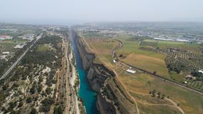 Aerial view of famous Corinth Canal of Isthmus, Peloponnese. Aerial view of famous Corinth Canal of Isthmus, Peloponnese, Greece royalty free stock image