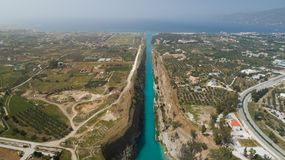 Aerial view of famous Corinth Canal of Isthmus, Peloponnese. Aerial view of famous Corinth Canal of Isthmus, Peloponnese, Greece stock photos