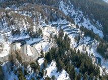 Aerial view of the famous curvy Maloja pass, Switzerland stock photo