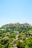 Aerial View of famous Greek temple against clear blue sky, Acropolis of Athens Stock Photos