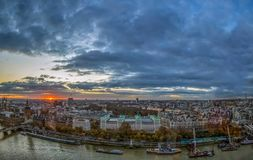Aerial view from famous London Eye  at Sunset time Royalty Free Stock Photography