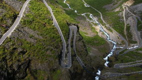 Aerial view of  famous mountain road Trollstigen stock video