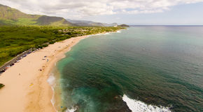 Aerial view of famous Oahu west side beach Stock Photos