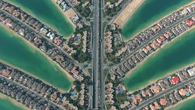 Aerial view of the famous Palm Jumeirah artificial archipelago in Dubai, UAE