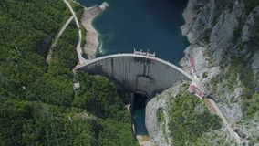 Aerial view of famous Piva Canyon with its fantastic reservoir. stock footage