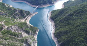 Aerial view of famous Piva Canyon with its fantastic reservoir in Montenegro. Aerial view of famous Piva Canyon with its fantastic reservoir. National park stock footage