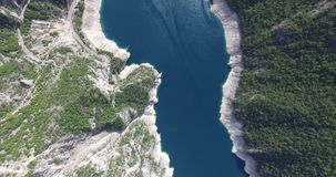 Aerial view of famous Piva Canyon with its fantastic reservoir in Montenegro stock footage