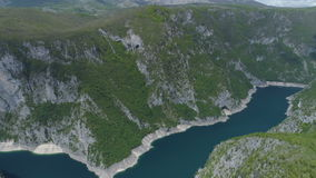 Aerial view of famous Piva Canyon with its fantastic reservoir. National park Montenegro and Bosnia and Herzegovina, Balkans, Europe stock footage